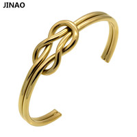 Jinao Personally Stainless Steel Heart Knot Bracelet Bangles For Women Tie The Knot Bridesmaid Gift Cuff