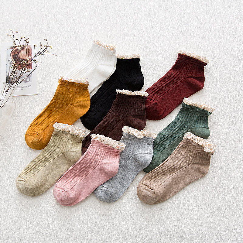 2018 Lace Ruffles Sweet Pure Color Cotton Women Ladies   Socks   Lovely Ruffled Edge Princess High Quality Spring Summer Girls   Socks