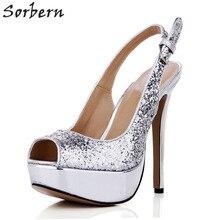 Sorbern Sexy Silver Sequins Slingbacks Women Shoes High Heel Pumps Peep Toe  Night Club Women Dress fe59d3e17f78