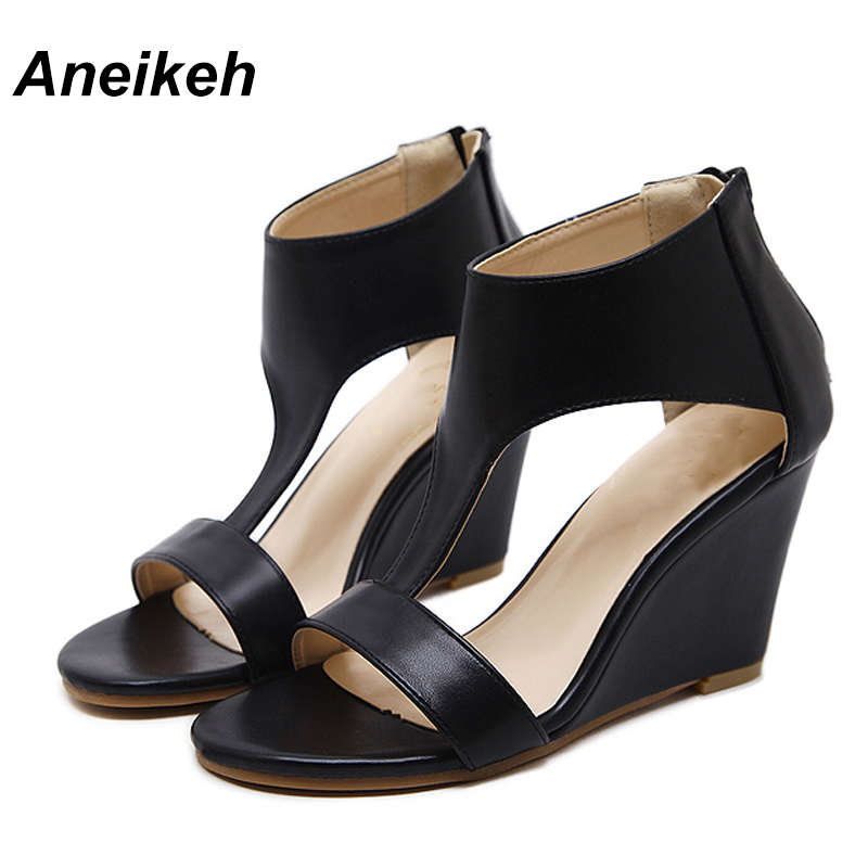 Aneikeh 2019 PU Classic Women Ankle Boots Sandal Zipper Gladiator Wedges High Heels Boots Hollow Out Black Brown Apricot Party40Aneikeh 2019 PU Classic Women Ankle Boots Sandal Zipper Gladiator Wedges High Heels Boots Hollow Out Black Brown Apricot Party40