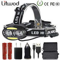 Litwod Z25 Headlight head lamp 4* T6 +2*COB+2*Red LED HeadLamp Flashlight Torch Lanterna head light for camping search
