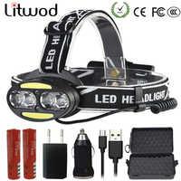 Litwod Z25 phare lampe frontale 4 * T6 + 2 * COB + 2 * rouge LED lampe frontale lampe torche lanterne lampe frontale pour la recherche de camping