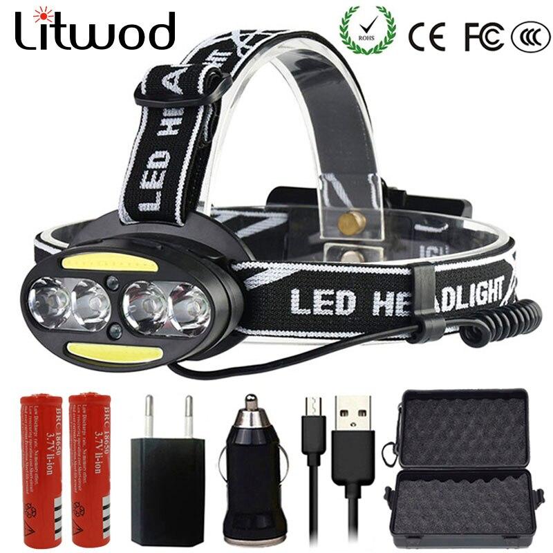 Z20 Scheinwerfer 30000 Lumen kopf lampe 4 * T6 + 2 * COB + 2 * Rote LED Scheinwerfer Taschenlampe taschenlampe Lanterna kopf licht für camping suche