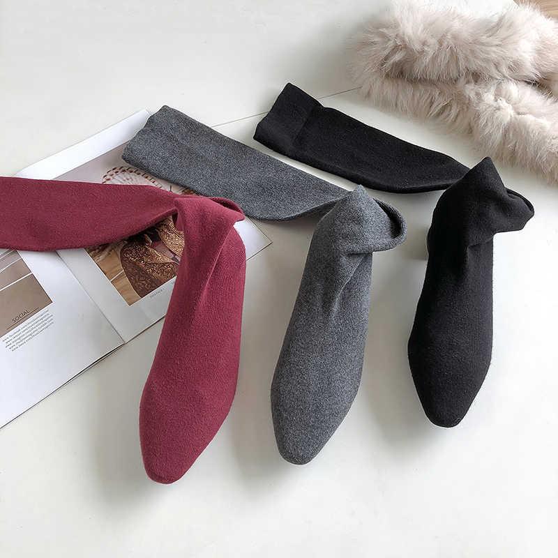 EGONERY elastische socken stiefel Super weichen frauen schuhe frühling herbst rot schwarz grau 4,5 cm heels über-die -knie hohe frau stiefel