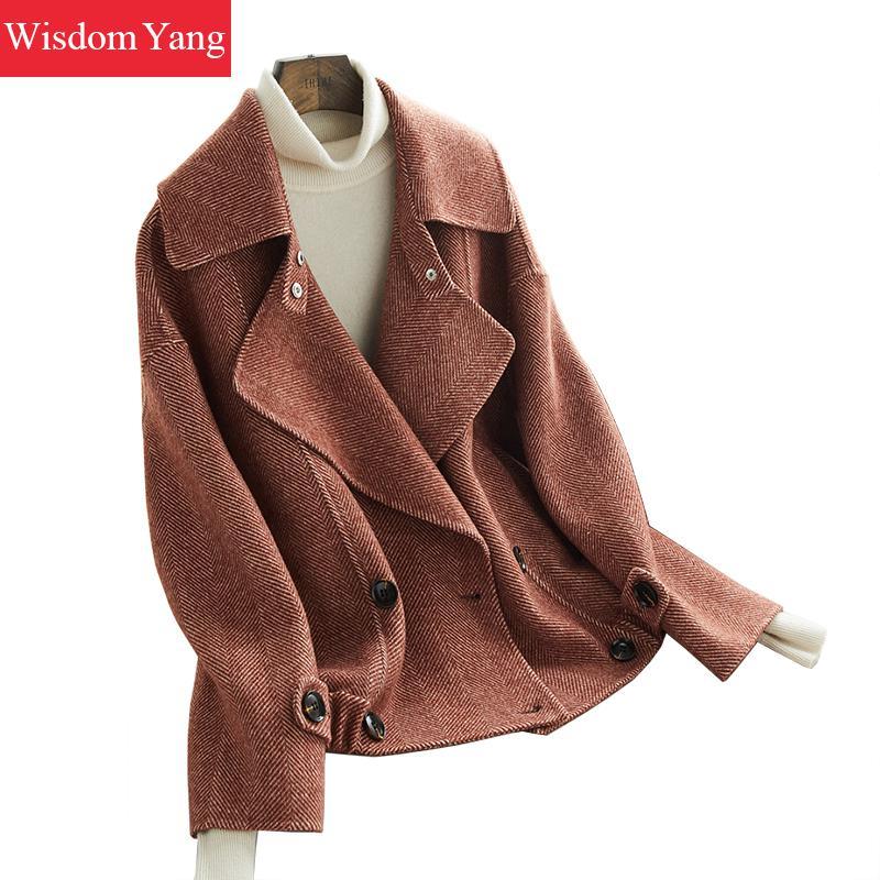 Зимнее теплое шерстяное пальто кофейный синий куртки овечья шерсть костюм пальто женские короткие оверсайз Свободные шерстяные пальто вер