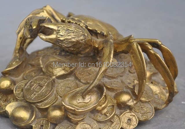 Chinese fengshui copper brass wealth yuanbao money coin sea Crab lucky  statue