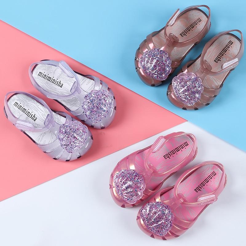 5a1abfb8f9de ... Mini Melissa Cute Shell 2018 New Girls Jelly Sandals Children Shoes  Baby Sandals Non-slip ...