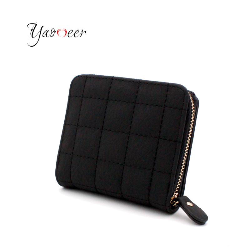 Yaomeer Women Short Wallets PU Classical Female Plaid Purse Matte Card Holder Wallet Women Card Holder Small Zipper Wallet P01