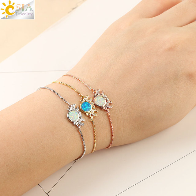 CSJA Fashion Chain Bracelet Crab Animal Round Opal Zircon Charms Bead Adjustable Link Bangles Ocean Style Jewelry for Women G103