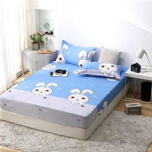 1pc 100% polyester printing bed mattress set with four corners and elastic band sheets hot sale