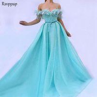 Long Arabic Women Evening Dress 2018 Elegant Sweetheart Cap Sleeve Plearls Feather Mint Green Ladies Evening Gowns