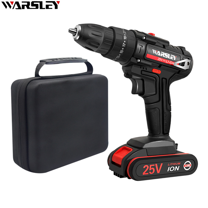 25V Power Tool Cordless Drill Impact Drill Multi-Function Electric Screwdriver 2 Speed + Cloth Tool  Bag
