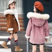plus fluffy collar coat Down jacket outer clothing Children winter Girls Kids boys Plus velvet thickening