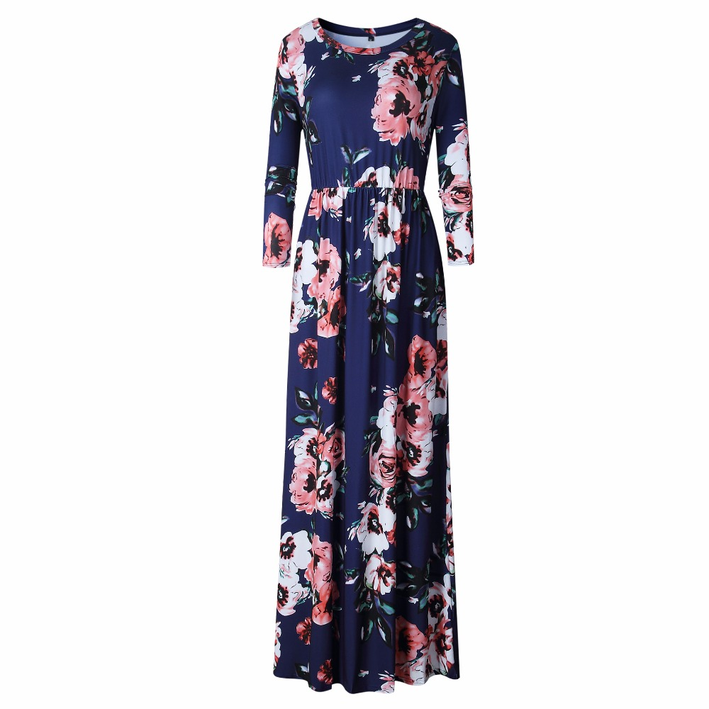 Women Floral Print Maxi <font><b>Dress</b></font> New Casual <font><b>Ladies</b></font> Wrist Sleeve O Neck <font><b>Sexy</b></font> Long <font><b>Dresses</b></font> Vestidos Plus Size image