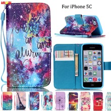LELOZI For iPhone 5c Fashion Print Luxury PU Leather Moible Phone Case Cover For Apple iPhone 5C With Card Slots Stand+Lanyard(China)