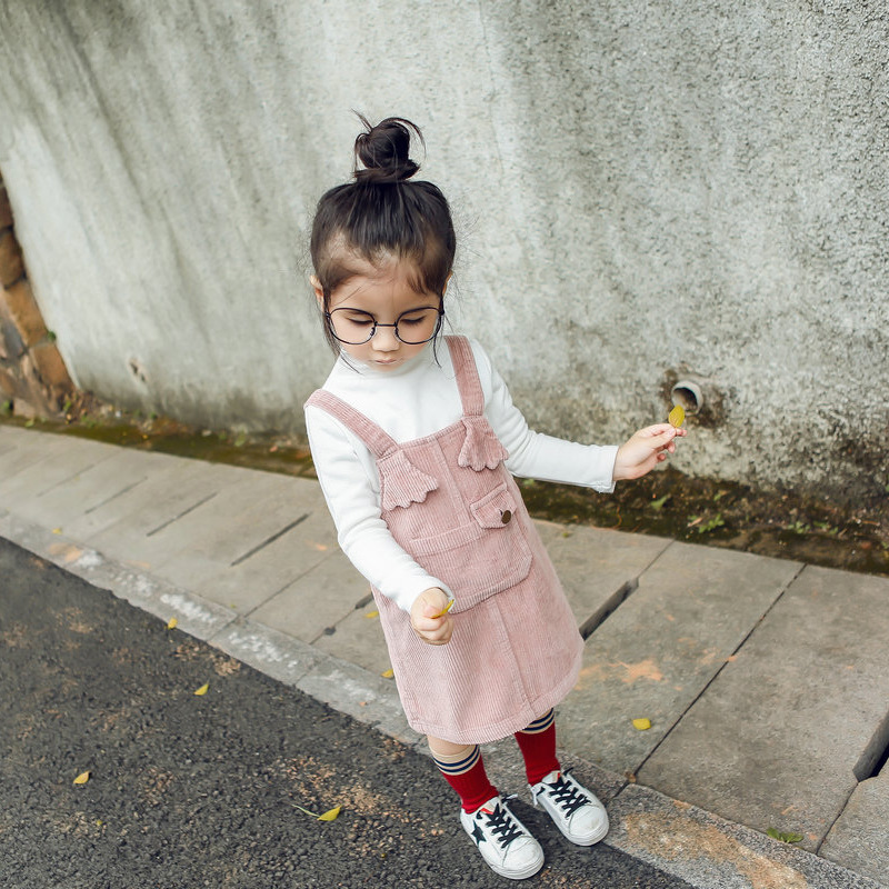 Cute Baby Girl Corduroy Suspender Dress Princess Spring Autumn Children Clothing Kids Party Dress Baby Girl Pink Yellow Clothes retail children girl spring cotton and linen dress vintage baby girl loose shirt dress high quality girl blouse autumn clothes