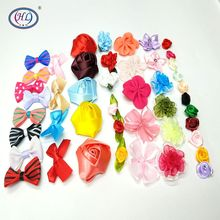 HL 10PCS-50PCS Lots Styles Mix Colors Ribbon Flowers Handmade  DIY Appliques Crafts Wedding Apparel Decorate Accessories