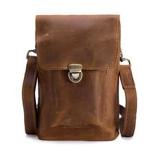 Leisure multifunctional 7 inch leather handbag, mens wax leather, outdoor retro waist pocket, 2098