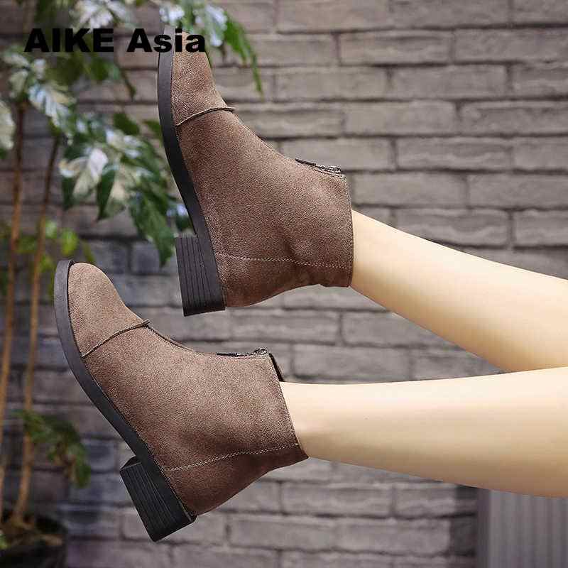 2020 kayma elastik bant lastik çizmeler kış varış ayak bileği Chelsea kadın ayakkabı sonbahar kare topuk kadın ayakkabı Botas Mujer