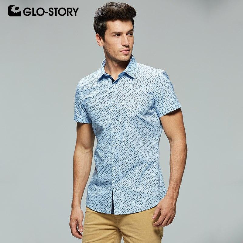 100% Wahr Glo-story Europäischen Größe Herren 2019 Sommer Kurzarm Formale Kleid Shirt Männer Slim Fit Druck Baumwolle Shirts Bluse Tops Mcs-7909