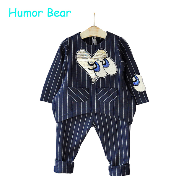 Humor Bear Girls Clothing Sets 2016 New Autumn Girls Clothes Long Sleeve stripe love sequins +Pants 2Pcs Suits