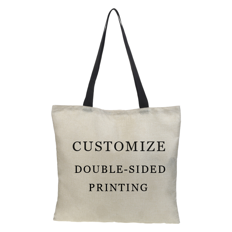 Double-sided Linen Printing Women Bag Popular Element Customize Large Lady Linen Sack Gift Bag Travel Shopping Shoulder Bags