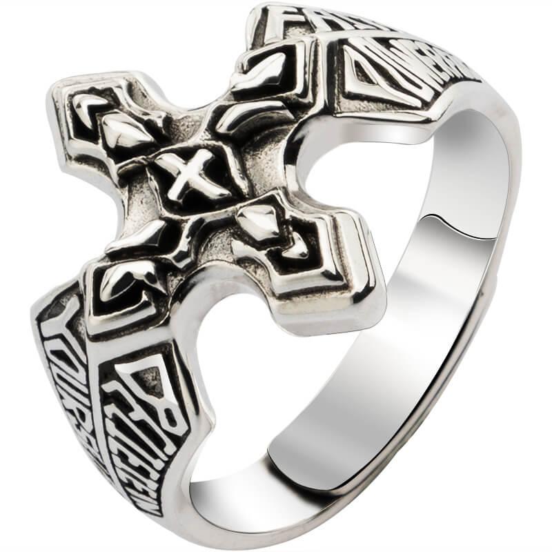 Bagues en argent croix pour homme bijoux de mode en argent Sterling Vintage - 5