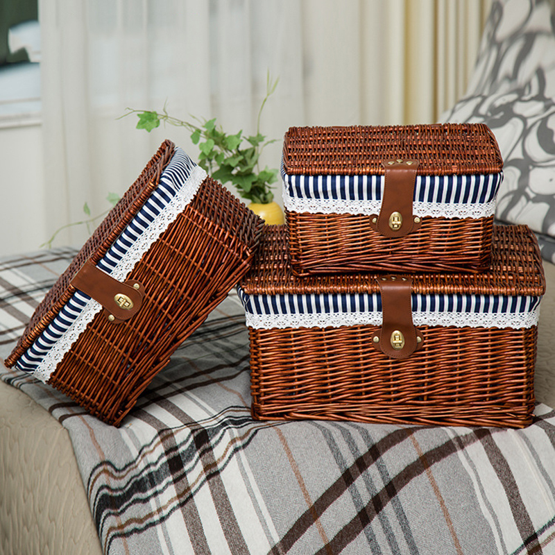 Creative Bamboo Woven Storage Basket With Lid With Lock Storage Clothes Sundries Toy Storage Box Organizer Wicker Material-66819