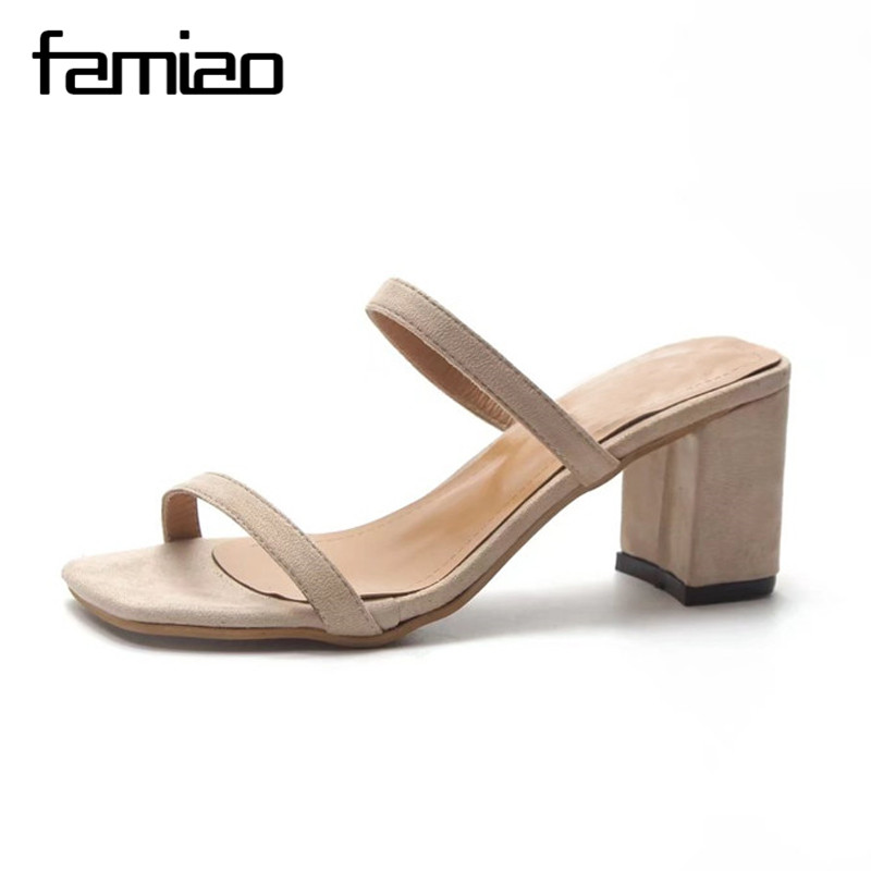 FAMIAO Ltarta Summer Women Sandals Open Toe Flip Flops Womens Sandles Thick Heel Women Shoes Korean Style Gladiator Shoes