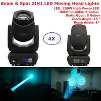 Factory Sales 200W Gobo LED Moving Head Beam Spot Lights 2 Gobo Wheel 15 Degree Zoom Angle For Professional Stage Lighting Shows