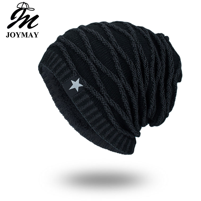Joymay 2018 Helt nytt Vinter Høstmote Hatter Unisex Varm Soft Skull Knitting Cap Hatter Star Caps For Men Kvinner WM067