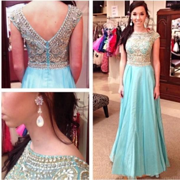 Hot Cap Sleeve Crystals Beadings Light Blue Chiffon Prom Dresses ...