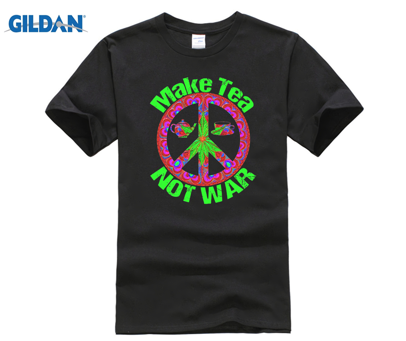 Make Tea Not War Psychedelic Art Hippy T Shirt 100% Cotton Trendy T Shirt Top O Collar Male Short Cotton Shirt