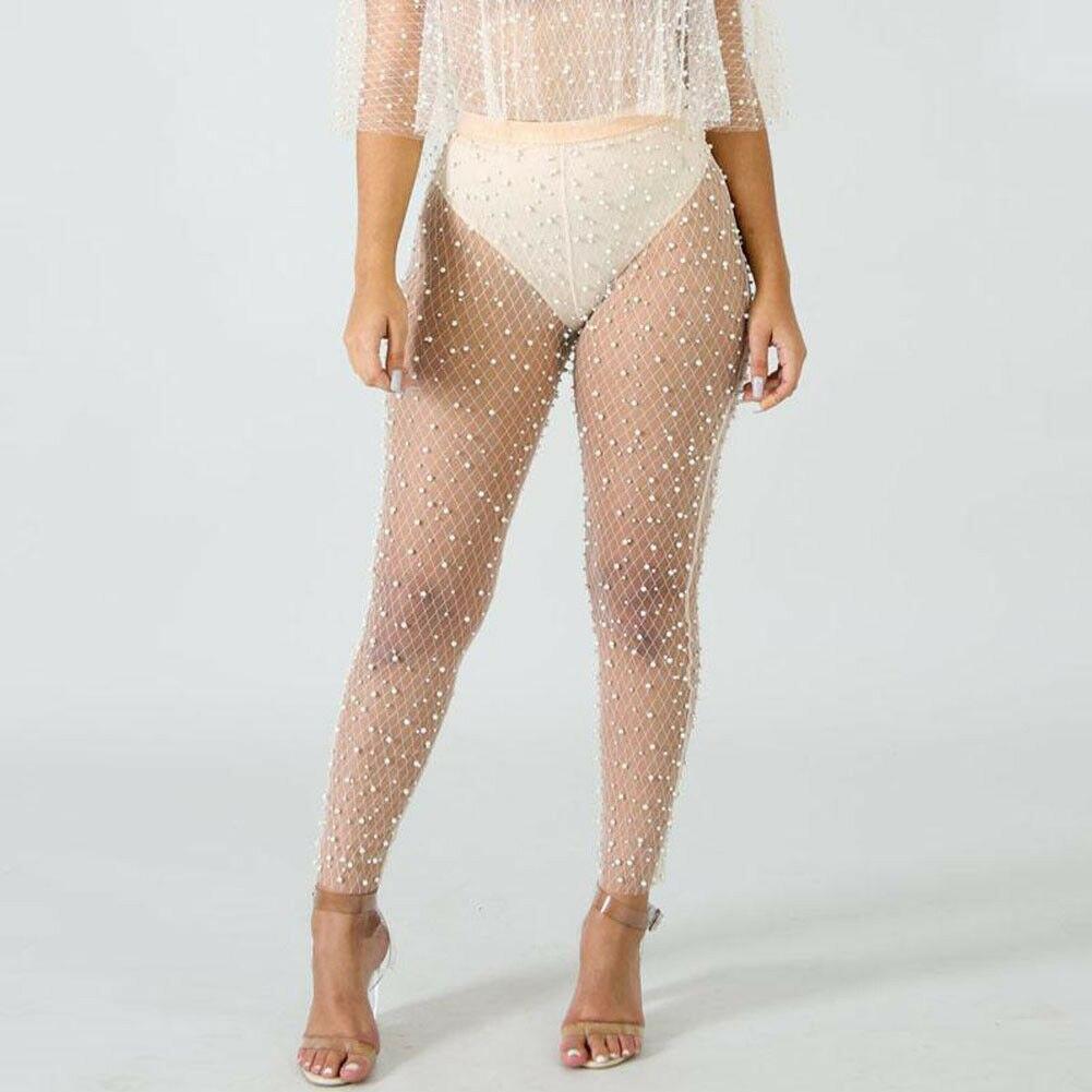 Summer Women Sexy Beading Stitching Beach Mesh Sheer See Through Bikini Cover-Ups Swimwear Bathing Pants Hot Sale