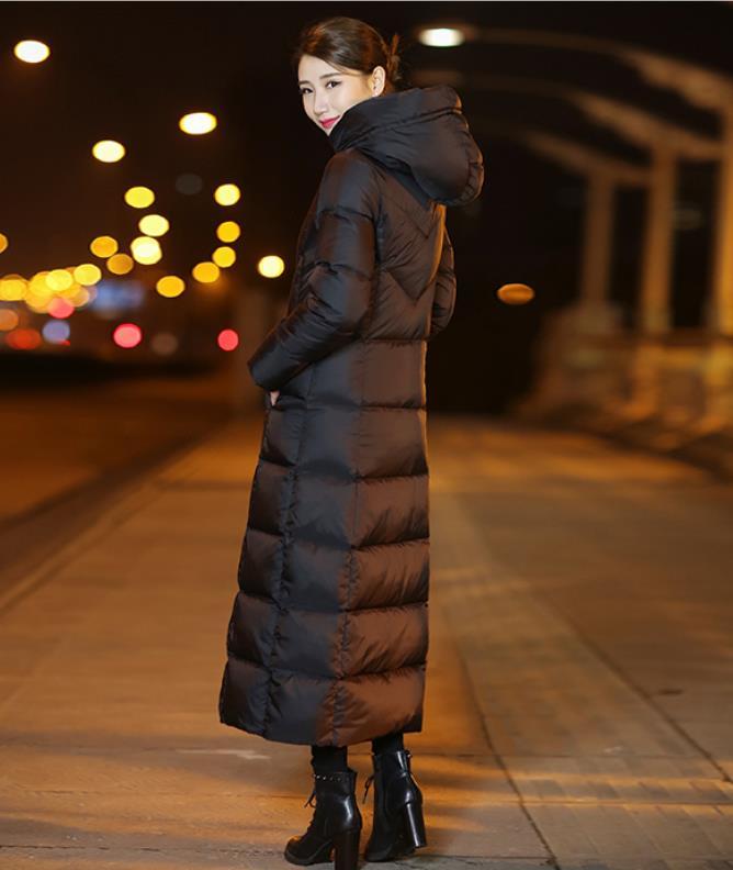 Coat Abajo Gruesa Capucha Loose Fit Negro Larga Acolchada Elegante Caliente Manga Mujeres Pocket Señora Con Chaqueta Invierno pBwqPE