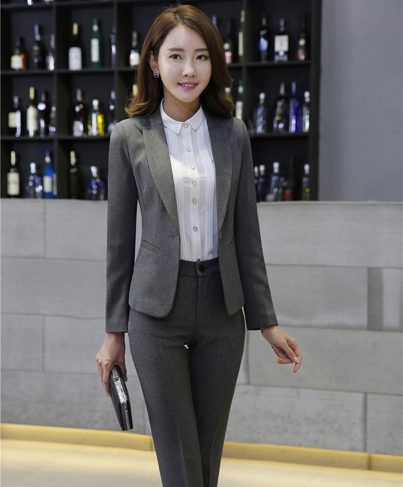 Professional Autumn Winter Work Wear Suits With Jackets And Pants Slim Fashion Formal Pantsuits Ladies Trousers Sets Blazers