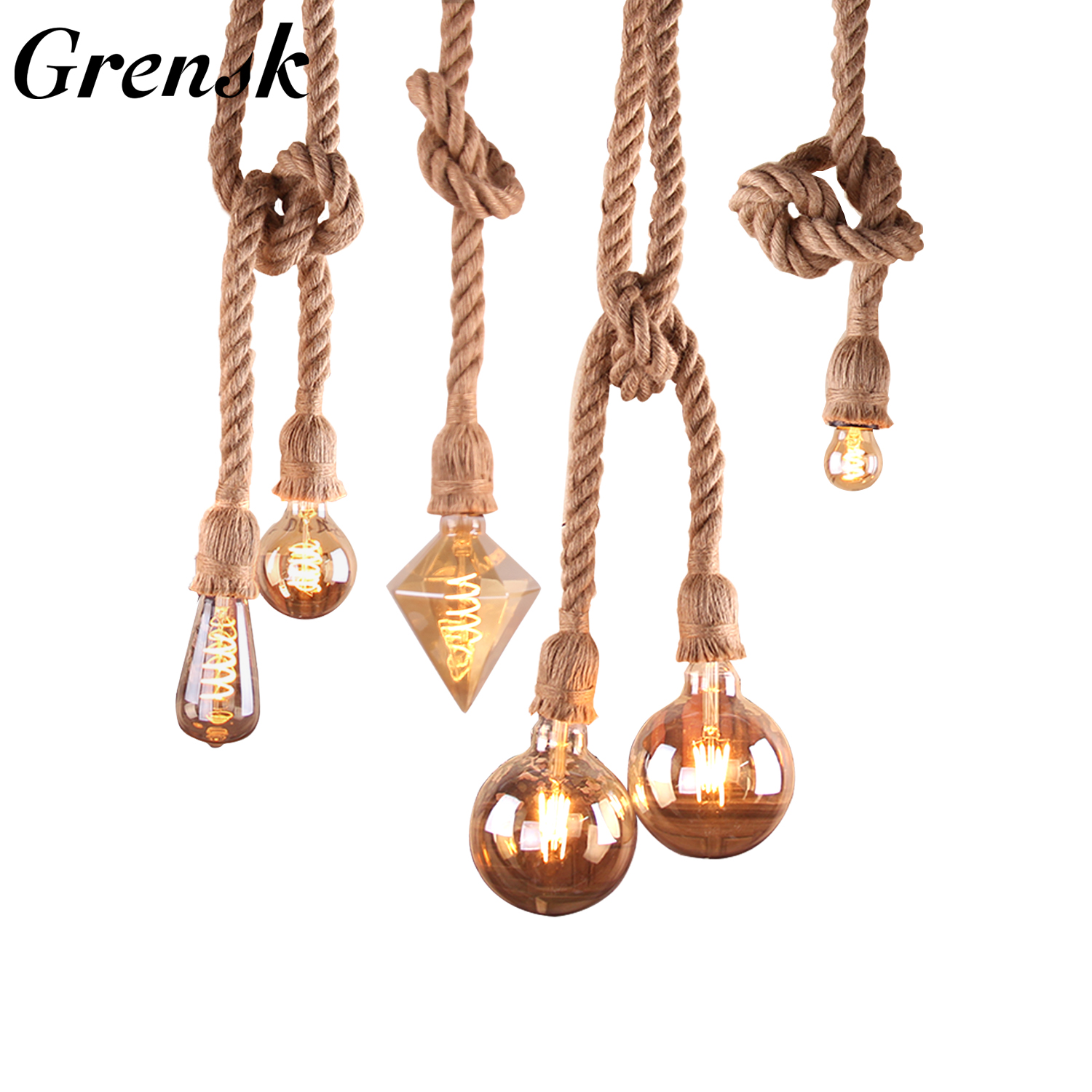 Grensk Kitchen Hanging Lamps E27 Vintage Hemp Rope Double Head Pendant Lamp Living Room Lights Hanging Restaurant Cafe Lighting