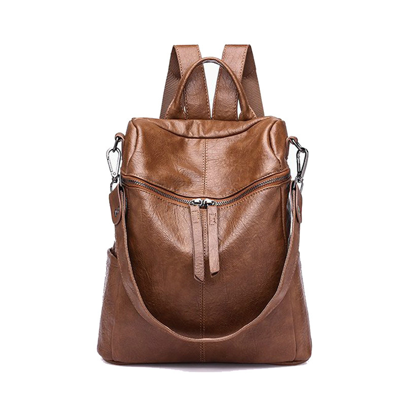 Vintage Women Shoulder Bag PU Leather Backpack Rucksack Brand Designer School Bag Casual Female Backbag Travel Bag Teenage Girl