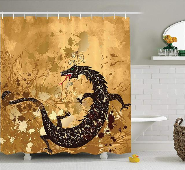 Dragon Shower Curtain Brown Reptile On Grunge Background Floral Ornate Ancient Asian Art Retro Style
