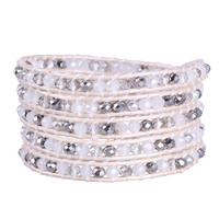 KELITCH White Crystal Silver Beads Boho 5 Wrap Bracelets Leather Women Bangle