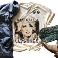 Guts Grit And Lipstick Shirt Summer Letter Womens Tshirt High Quality Cotton Casual Sleeves Printed Character Female Top Tee