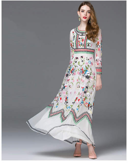 92af318ce22a6 placeholder QYFCIOUFU High Quality Women s Maxi Dresses Designing Runway  Long Sleeve Black And White Roses Floral Tulle