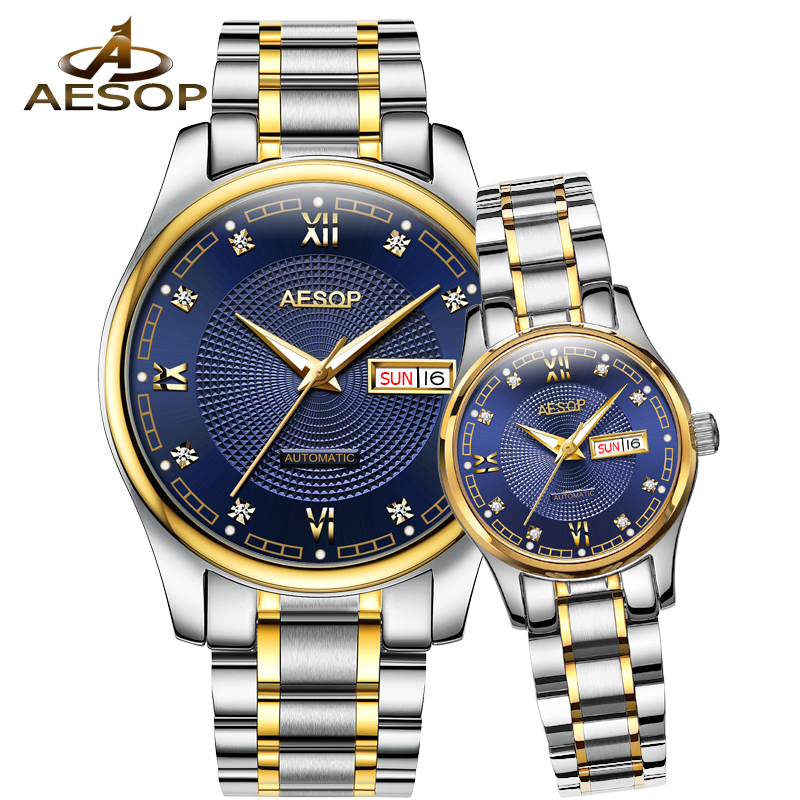 AESOP Lovers Watch Men Women Automatic Mechanical Wrist Wristwatch Elegant Couple Ladies Clock Relogio Feminino Montre Femme 46 тени maybelline палетка теней 01 blushed nudes maybelline