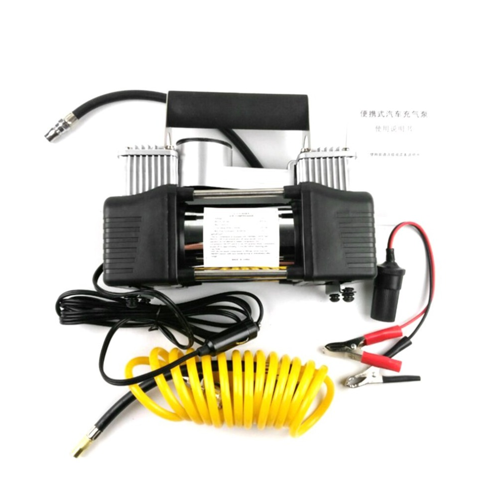 BY-261 12V Car Tyre Inflator Double Cylinder Air Compressor Metal Tire Inflator High Pressure Air Pump with Tools Suitcase 12v portable digital car air tire compressor double cylinder heavy duty 150psi tyre pressure inflator pump vacuum cleaner