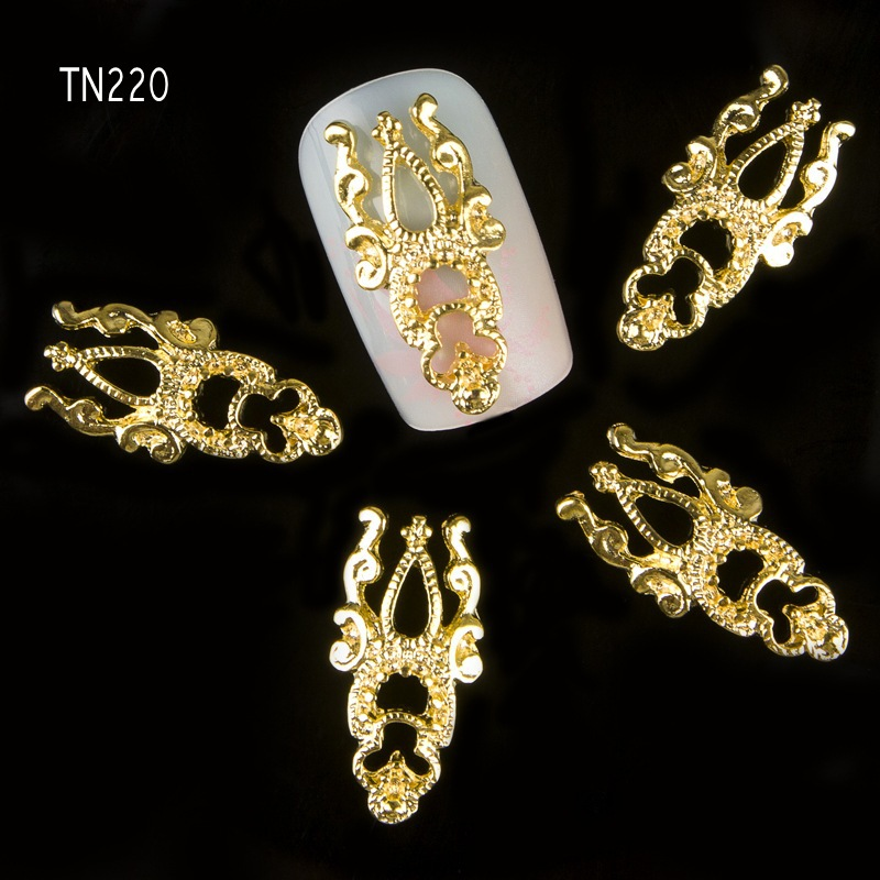 10pcs 3D Charm Jewelry Nail Art Studs Nail Tools DIY Alloy Decorations Gold Glitter Rhinestones For Nail Tips TN220