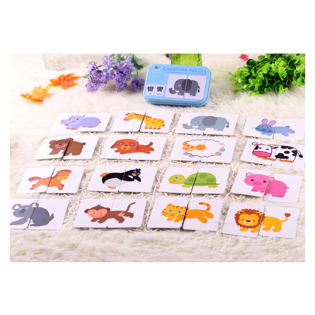 Toys for children Iron-box Early Start Training Puzzle Cognitive Card Vehicl/Fruit/Animal/Life Educational Learn card Kids Toys