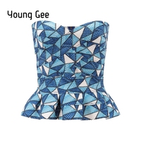 YoungGee Ruffle Strapless Crop Top Bandage Summer Short Geometric Print Blusa Slim Camisole Tank Vest Female