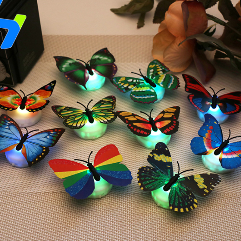 Creative Simulation Colorful LED Butterfly Night Light Paste flash butterfly wall sticker Bar restaurant bedroom supplies 3D New