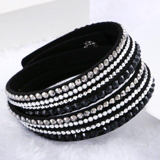 Bracelet Rhinestone Leather...
