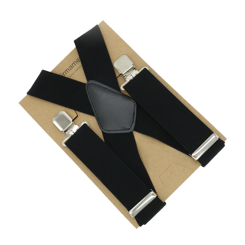 105*5cm X Back 4 Clip Adjustable Classic Comfort Men Business Solid Wedding Suspenders Trousers Braces High Quality